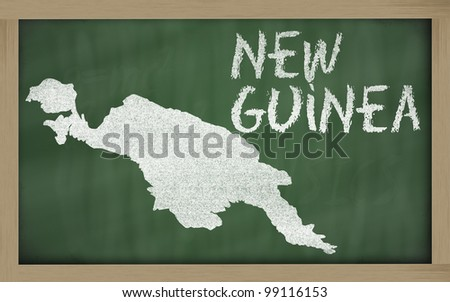 drawing of new guinea on blackboard, drawn by chalk