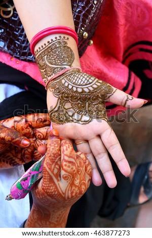 Henna wedding design stock photo 176850497 shutterstock for Henna tattoo process
