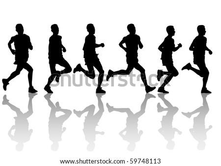 drawings of people running