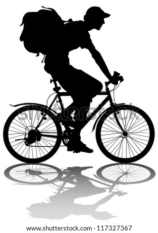 drawing silhouette of a cyclist boy whit bag