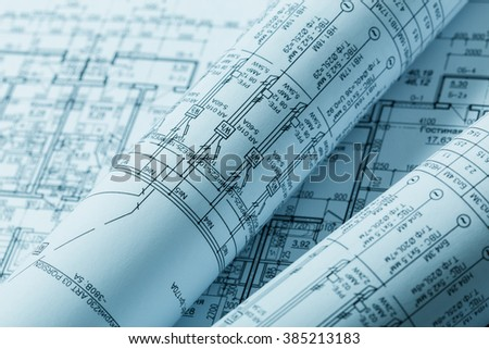 Drawings, blueprints close up