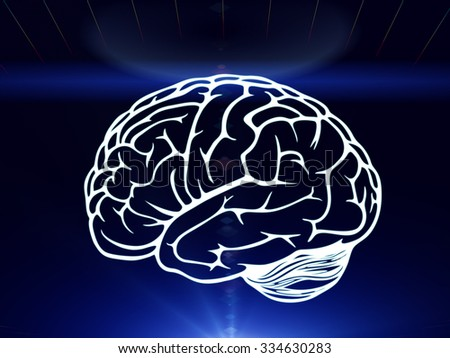 Drawn brain hovered over the human hand on the dark blue background