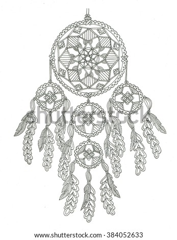 Dreamcatcher Coloring Page Stock Illustration 381851098 Shutterstock