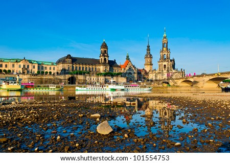 Dresden and elbe river at sunrise