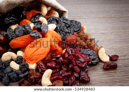 Dried fruits assortment on white background, health food concept.