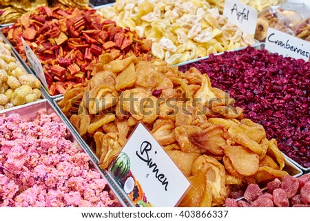 Dried fruits on food market / heathy nutrition with dried fruits / high carb nutrition