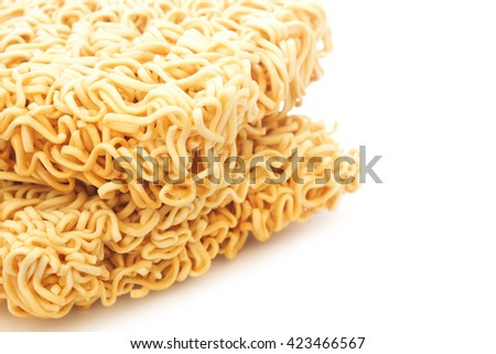 dried Instant noodles on a white background, close up