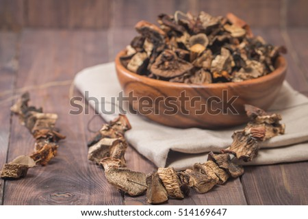 Dried mushrooms in wooden bowl on rustic background