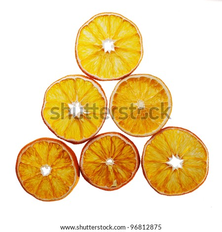 dried orange slices arranged in form of a triangle