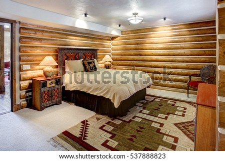 Driggs, Idaho, USA Oct. 27, 2014 A luxurious living room, with comfortable furnishings, in a modern log cabin in the mountains.