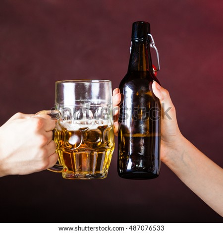 Young Man Pouring Beer Bottle Into Stock Photo 258262871 ...