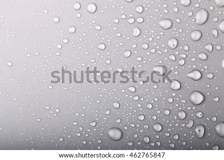 Drops of water on a color background. Gray.