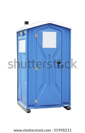 Dry closet, dark blue colour, plastic, photographed on the white, isolated background
