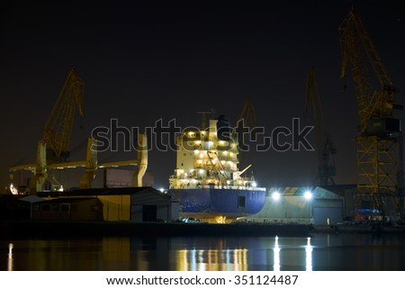 Dry dock with ship on maintenance.
