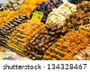 Dry fruits and nuts on the Spice market of Istanbul - stock photo