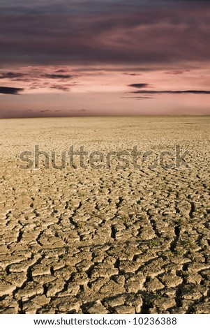 Dry lake during sunset