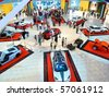 DUBAI, UAE - FEBRUARY 19: Luxury sports cars on display during Auto Exhibition at Dubai Mall February 19, 2010 in Dubai, United Arab Emirates. - stock photo