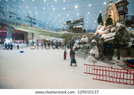 DUBAI,UAE-JAN 22: interior of the ski dubai an indoor ski slope at  mall of emirates on the 22th of january 2010, in Dubai,Uae.