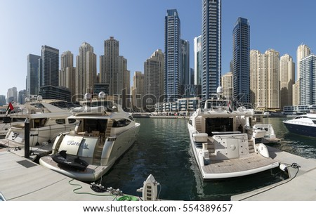 DUBAI, UAE -   JANUARY 05,  2017: Dubai Marina. In the modern city of skyscrapers dug an artificial channel and organized a lot of luxury yachts