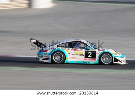 Dubai, UAE - JANUARY 12, 2008: The Porsche 997 RSR from Konrad Motorsport (finished 29th in class), in action at the TOYO TIRES 24H of Dubai 2008.