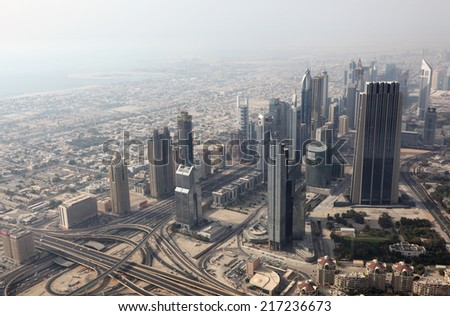DUBAI, UAE - MAY 31: Aerial view of the Sheikh Zayed Road in Dubai. May 31, 2011 in Dubai, United Arab Emirates