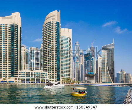 DUBAI, UAE - NOVEMBER 16: Yacht Club in Dubai Marina. UAE. November 16, 2012. Dubai was the fastest developing city in the world between 2002 and 2008.