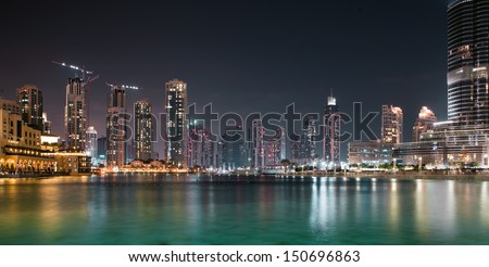 DUBAI, UAE - OCTOBER 23: A record-setting fountain system set on Burj Khalifa Lake, it shoots water 150 m into the air, at October 23, 2012 in Dubai, United Arab Emirate
