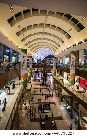 DUBAI, UAE - OCTOBER 31: World's largest shopping mall based on total area and sixth largest by gross leasable area, October 31, 2013 in Dubai, UAE