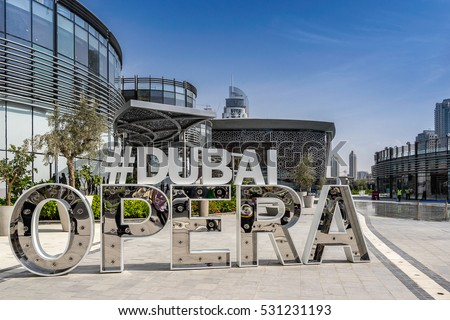 Dubai,UAE on 25th Nov 2016:Dubai Opera is a 1901 seat, multi-format, performing arts center, which is located within The Opera District in Downtown Dubai.