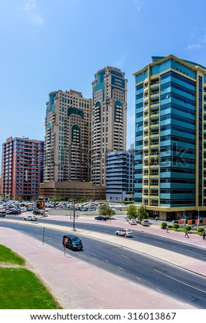 DUBAI, UNITED ARAB EMIRATES - SEPTEMBER 6, 2015: High raise Buildings in Dubai. Dubai is most populous city and emirate in UAE and second largest emirate by territorial size after capital - Abu Dhabi.