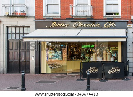 DUBLIN, IRELAND - AUGUST 13, 2015: A Butlers Chocolate Cafe. Founded in 1932, Butlers employ 250 staff across production, sales and marketing, new product development and Butlers Chocolate Cafes.