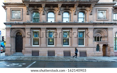 DUBLIN, IRELAND - OCTOBER 25 : A branch of Allied Irish Bank, Dublin, Ireland, 25 October 2013. The Irish State owns 99.8pc of AIB.