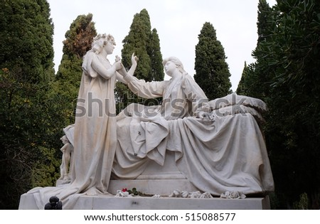 DUBROVNIK, CROATIA - DECEMBER 01: Detail of a mourning sculpture, Cemetery in Boninovo district Dubrovnik city Dalmatia, Croatia on December 01, 2015.