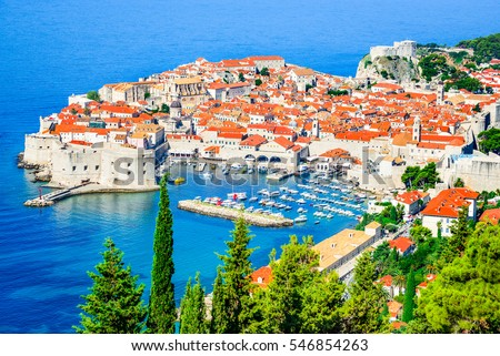 Dubrovnik, Croatia. Picturesque view on the old town (medieval Ragusa) and Dalmatian Coast of Adriatic Sea.