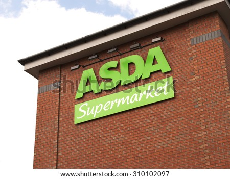 Dudley - August 28th: Asda Store on August 28th 2015 in Dudley, West Midlands, United Kingdom, Great Britain, England, UK. Asda is the UK's second largest chain by market share after Tesco.