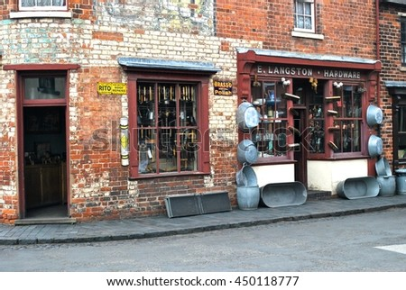 DUDLEY, ENGLAND - JULY 2. The Black Country Museum features many Victorian shop fronts set in recreated streets and is a popular tourist attraction. July 7 2016 in Dudley, England.