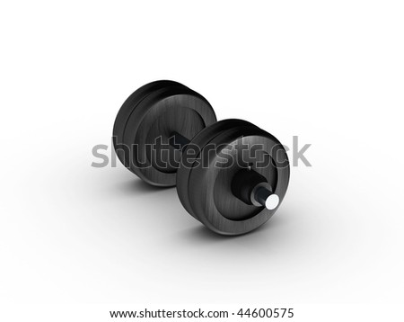 Dumbbell side view on white background. High quality 3d render.
