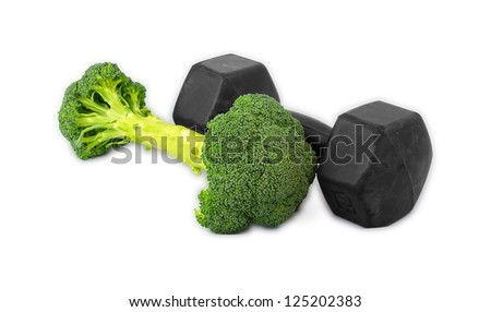 Dumbbells made of broccoli on white background