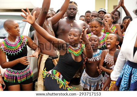 DURBAN, SOUTH AFRICA - April 5: Zulu dancers entertain at a traditional wedding ceremony in Kwa Zulu Natal, South Africa on April 5, 2015.