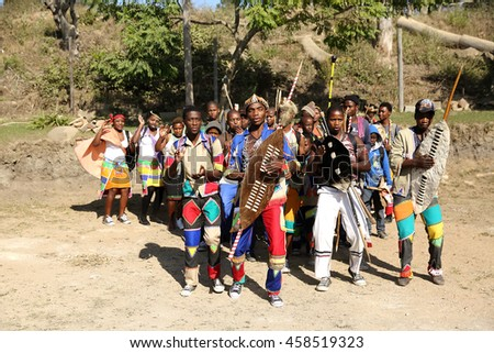 DURBAN, SOUTH AFRICA - June 4: Traditional Zulu dancers entertain guests at a wedding ceremony in Kwa Zulu Natal, South Africa on June 4, 2016.