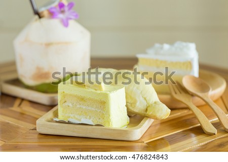 Durian cake and fresh yellow durian.