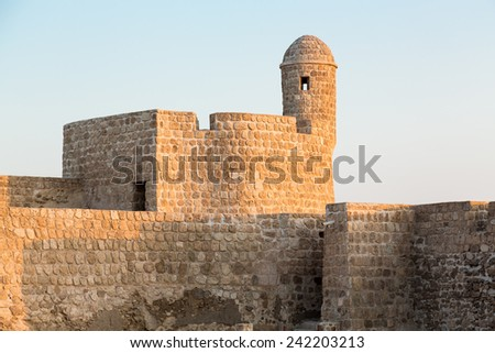 Dusk at the recontructed Bahrain Fort near Manama at Seef, Bahrain