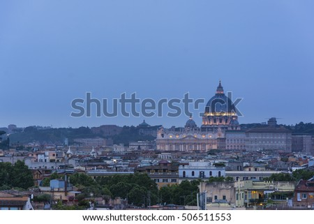 Dusk time view at St. Peter's cathedral in Rome, Italy