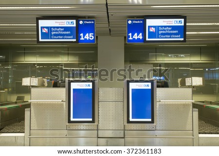 Dusseldorf, Germany- February 4, 2016: Empty Check-in counter at Dusseldorf International Airport. Dusseldorf Airport located in NRW and is the 3 largest Airport in Germany.