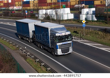 DUSSELDORF ,GERMANY - FEBRUARY 16: transport truck on the highway on February 16,2016 in Dusseldorf, Germany