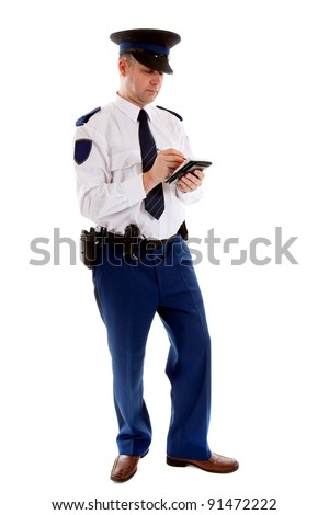 Dutch police officer filling out parking ticket over white background