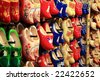 Dutch traditional wooden shoes, clogs, symbol of Netherlands. - stock photo