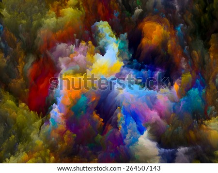 Dynamic Color series. Abstract arrangement of Colorful fractal clouds and graphic elements suitable as background for projects on forces of nature, art, design and creativity