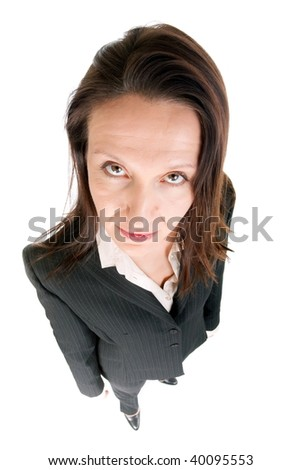 dynamic view of serious businesswoman looking upset