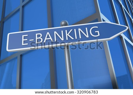 E-Banking - illustration with street sign in front of office building.